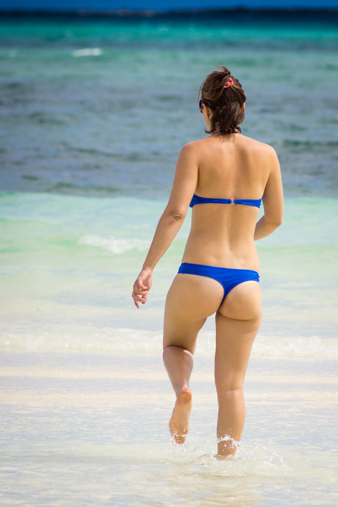 Beach boob butt girl girl south thong