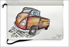 VW Bulli (rafaelmucha) Tags: color bus moleskine water car vw pen ink watercolor notebook sketch sketchbook bulli inking aquarell