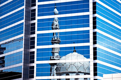 Dubai Reflection   Explore (Swissrock) Tags: city urban reflection window modern mirror march nikon dubai uae mosque spiegelung 2013 d700 andykobel