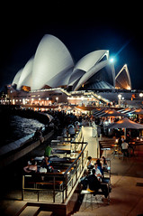 caf with a view (marin.tomic) Tags: city travel light summer urban caf architecture night nikon view nightshot sydney atmosphere australia icon unesco nsw newsouthwales sight australien operahouse iconic d90