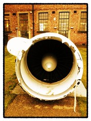 1 of 2 aircraft engines sit motionless in MIMA garden. (MyPhonePhotos) Tags: art glass plane found looking object surveillance mima boeing middlesbrough ec135 longrange rogerhiorns aircraftengines lomogram prattwhitneytf33p9