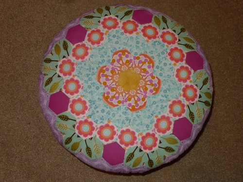 English Paper pieced Hexagon Footstool 3