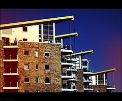 Balcony Life (peterphotographic) Tags: city uk blue england urban london yellow canon river spring cityscape flat britain balcony penthouse g12 bicycleride limehousebasin camerabag2 bicysleride img1857cb2siledwm