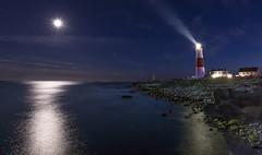 Portland Bill Lighthouse (Edward Bentley) Tags: lighthouse portlandbill lights moon reflection sea seaside water lightrays lightbeam rocks england coast nikond7100 dorset