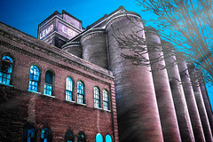The Haunted Towers i (Eric Baggett) Tags: blue red sky brick architecture alone ominous perspective stlouis haunted stl lemp lempbrewery hauntedtowers fantasyartphotography ericbaggett childhoodreverb everydayfantasy digitaltodrawing
