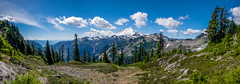 Mount Baker (Sworldguy) Tags: snoqualmienationalforest mountbaker mountains snowcapped snow washington clouds scenic forest hiking trail alpine rugged rocky wilderness northcascades highelevation landscape wideangle wideshot panorama pano summer outdoor mountainside ridge ptarmiganridge artistspoint wa542 nikon d7000 dslr polarizer