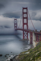Golden Gate Bridge in Fog, San Francisco (Rita Crane Photography) Tags: goldengatebridge bridge sanfrancisco california ocean fog mist clouds wwwritacranestudiocom ritacranephotography marinelayer pacificocean sanfranciscobay