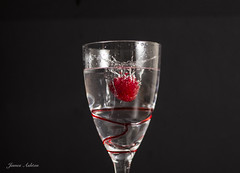 Raspberry Fun (jamesashtonpix) Tags: off camera flash raspberry food black background beverage indoor canon 700d