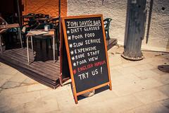 The worst restaurant in the world / Le pire restaurant du monde... (Gilderic Photography) Tags: cascais portugal restaurant humour humor funny marketing vacation terrace terrasse canon 500d gilderic