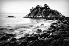 Tidal Barrier (Bobby Palosaari) Tags: vancouver whyteislet barrier blackandwhite coast coastline rocks rugged sea seashore tide water