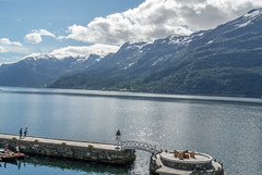 Balcony view from hotel Ullensvang in Hardanger (Norway) - 1 (enurweb) Tags: hardanger balcony norway nature landscape water pier mountain mountainside mountaintop mountainpeak fjord hardangerfjorden outdoor watercourse