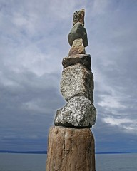Cairn (sea turtle) Tags: seattle northseattle goldengardens beach park summer laborday holiday cairn stone stones wood pile clouds sky stack balance ballard