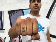 Sharrow tattoo on knuckles. (ubrayj02) Tags: bikela flyingpigeonla flyingpigeon sharrow streetsblogla streetsblog