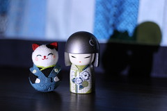 Rina and cat friend on stage (vtpoly) Tags: kokeshi dolls japanese culture japan cat polywoda
