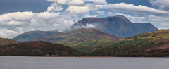 Ben Nevis From Loch Linnhe (Osgoldcross Photography) Tags: landscape bennevis nevis scotland summer panorama pano stitched nikon nikond810 raw mountain highestukmountain rocks rock lava plug ancient alba ecosse grass slopes scree clouds sky water lochlinnhe fortwilliam dramatic