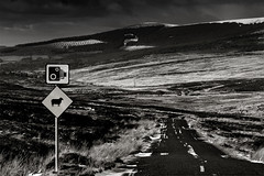Sally Gap, Co wicklow, Ireland. (2c..) Tags: wicklow road sheep sign camera mountains ireland mono sally gap