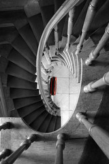 In (Stair)Case of Fire (Noutyboy) Tags: red bw holland eye netherlands monochrome photoshop spiral restaurant utrecht zwartwit dom nederland thenetherlands stairwell staircase rood zwart wit treppen trappenhuis nout selectivecolors langnieuwstraat noutyboy molenear