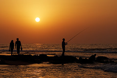A place for everyone! (Hemo Kerem) Tags: sunset seascape beach water silhouette fisherman sony tamron90mmf28 mygearandme mygearandmepremium mygearandmebronze mygearandmesilver sonya55