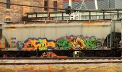 CHIP7 & SIGH (BLACK VOMIT) Tags: car train graffiti ol south grain 7 dirty dos sigh chip mayhem hopper freight chip7 grainer