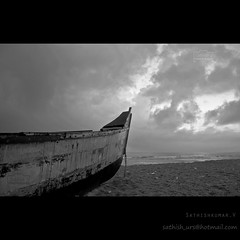 Rest In Peace - Broken Boat (Sathish_Photography) Tags: sea india beach broken clouds photography boat with weekend more shore photowalk chennai tamilnadu sathish cwc clickers thiruvanmiyur