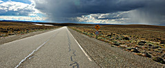 speed limit (on the road from rio gallegos to el calafate - argentina) (bloodybee) Tags: road street trip travel sky panorama patagonia santacruz storm americalatina southamerica nature argentina rain sign clouds landscape vanishingpoint horizon hills speedlimit 20 ontheroad steppe ruta40 route40
