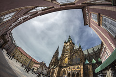 Prague Castle (Zdenek Papes) Tags: city sky bw cloud white black tower castle church architecture landscape prague kirche himmel wolke prag praha stadt architektur chateau schloss turm landschaft hrad burg papes kostel mrak msto nebe zdenek architektura krajina obloha zdenk v oblaka dlaba pape