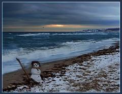 Children's Art (Ostseeleuchte) Tags: snow art beach water strand germany snowman wasser balticsea ostsee schneemann childrensart detuschland ostholstein snowmanonthebeach