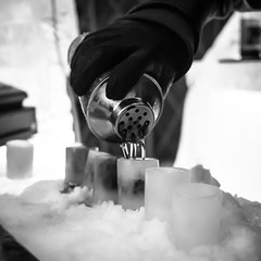 Pouring ice shots (Citizen 4474) Tags: winter bw snow ski ice minnesota bar drink shots pour apres lutsen moguls vacationstravel