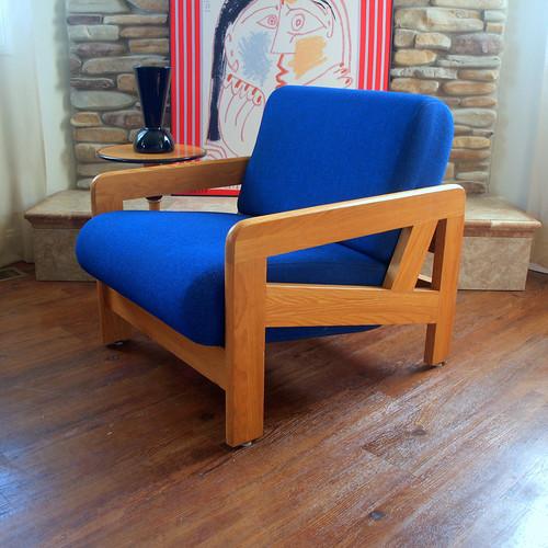 danish modern lounge chair solid oak wood frame fabulous geometric design original rich blue wool upholstered