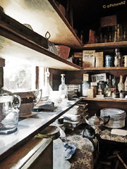 Gran's Larder (Steve Taylor (Photography)) Tags: old grandma kitchen vintage store bottle cool grandmother box antique storage shelf container jar gran plates pantry shelving