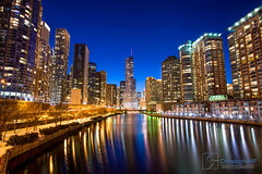 Trumped V2.0 (Christopher.F Photography) Tags: chicago reflection building river nikon long exposure downtown cityscape bluehour trump d800 blending