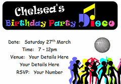 i117 disco birthday party invite (Locketmaid) Tags: show birthday girls boy party castle beach boys girl face kids painting balloons disco kid puppet slumber clown magic climbing invitation childrens invite bouncy sleepover invites invitations magician