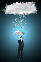 Asian businessman with umbrella and dollar falling from cloud (Patrick Foto ;)) Tags: lighting boy people cloud white storm man black male guy fall rain weather sign businessman closeup illustration umbrella work asian corporate adult symbol market background tie bank business human cover dollar caricature worker concept economic metaphor manager success protection problems economy exchange currency income employee confident career profession insecure brokers