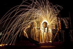 Play Ground (tout_m) Tags: park light ohio color wool set night painting fire play steel cincinnati ground swing streaks sparks fernbank