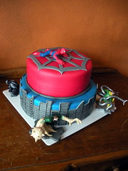 Spiderman Cake (sweetescapescakedesigns) Tags: blue red cake comics web spiderman superhero marvel fondant