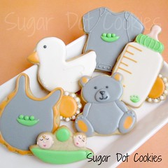 Two Peas in a Pod, Twin Baby Cookies (. . . Sugar Dot Cookies . . .) Tags: baby duck bottle twins bib teddybear onesie sugarcookies peapod peasinapod royalicing babypeapod