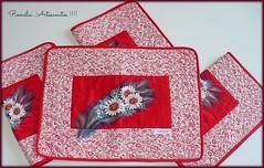 jogo americano margaridas (romelia.artesanatos) Tags: no craft vermelho patchwork em jogo lugar pintura margaridas americano tecido jogoamericano costurinhas