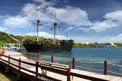 Pirate Bay, Roatn (sminky_pinky100 (In and Out)) Tags: travel sea vacation tourism water dock jetty sunny cruiseship caribbean tallship roatan piratebay omot