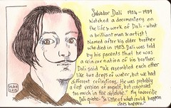 Dali (sarabeee) Tags: portrait colour pen painting sketch artist colours drawing watercolour colourful dali salvadordali watercolours quicksketch