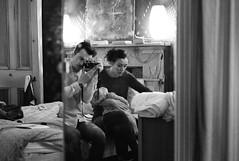 reflected self-portrait of family in wardrobe door mirror (gorbot.) Tags: blackandwhite bw selfportrait home me glasgow rangefinder mia roberta mhexanon mmount leicam8 konicahexanon50mmf20 silverefex