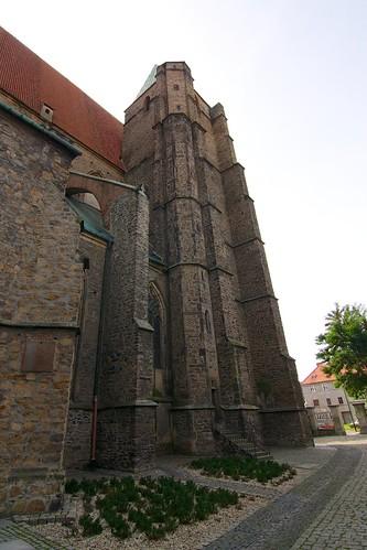 Wieża kościoła śś. Piotra i Pawła w Strzegomiu od północy