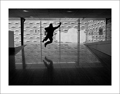 Jump! (Christa (ch-cnb)) Tags: blackandwhite reflection silhouette jump gallery republic czech prague olympus palace v national ilan zuiko renaissance omd schwarzenberg praguecastle sgraffito praze palc schwarzenbersk mzd1250mm