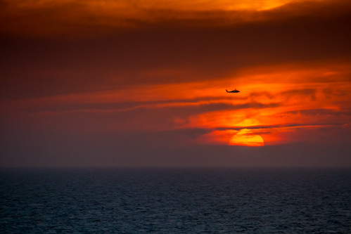 Florida Sunset Coast Guard Helicopter