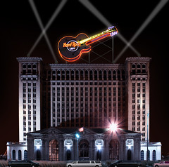 Detroit Rock City (Notkalvin) Tags: fiction photoshop ruins detroit hrc fantasy trainstation depot imagination create michiganavenue mcs hardrockcafe edit digitalmanipulation urbex motown corktown motorcity rooseveltpark michigancentralstation detroitrockcity project366 wouldbecool notkalvin mattysucks