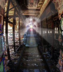 Crazy Train (Notkalvin) Tags: railroad fiction plant abandoned train ruins decay detroit tracks fantasy urbanexploration imagination create edit ghosttrain packard ue digitalmanipulation urbex crazytrain project366 notkalvin
