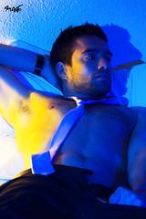 Neon Boy Number 1 (tim_asato) Tags: blue sexy guy pecs yellow azul neon pants room watch tie hunk amarillo corbata tied habitacin abs timasato