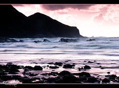 Crackington Haven Sunset (LE) (Estie.R (DorsetGirl) ) Tags: longexposure sunset holiday seascape beach rocks cornwall cliffs crackingtonhaven october2012 footiselevatedandboredomisatmaximum firstgoatthiskindoflebekind