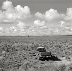 Along Highway 20, Oregon (austin granger) Tags: film broken clouds oregon square highway offroad crash 4wd story dodge wreck ram stranded gf670 austingranger