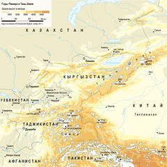 Pamir and Tien Shan /    - (Zoi Environment Network) Tags: china pakistan mountain afghanistan nature ecology asia map altitude peak environment geography tajikistan uzbekistan centralasia kyrgyzstan range pamir  tienshan topography   reliefmap                     biodiversityincentralasia centralasiamountains