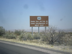 I-25 North Approaching US-380 (sagebrushgis) Tags: newmexico sign intersection i25 us380 socorrocounty biggreensign distancemarker lincolnstatemonument freewayjunction smokeybearhistoricalpark